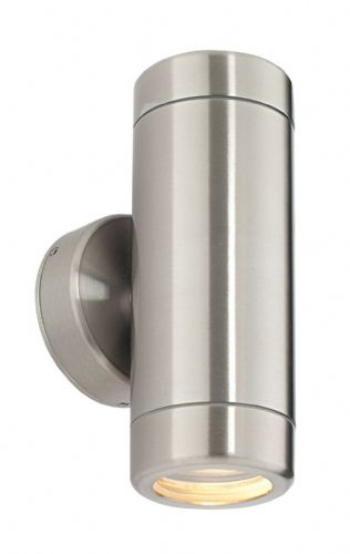 Brushed stainless steel & clear glass Outdoor Wall Light ST5008S by Endon